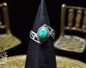Turquoise Sterling Cutout Ring - Size 7 - Power Ring, Event Ring, Filigree Ring, Gift For Mom, Girlfriend Ring, Gift For Sister, Offset Ring