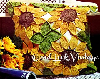 Vintage Crochet Pattern 1970s Sunflower Tote Purse Mod Beach Bag Digital Download PDF