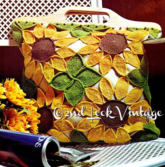 Vintage Crochet Pattern 1970s Sunflower Tote Purse Mod Beach Bag Digital Download PDF