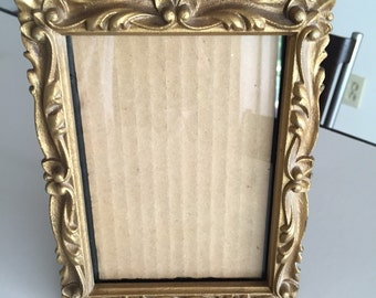 Mid Century Picture Frame/Ornate Wooden Picture Frame/ Desk Top Frame/Gold Frame/ By Gatormom13
