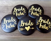 Bachelorette Party Buttons, Bride Tribe, Black and Gold, Arrow