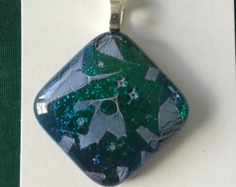Pendant - Teal dichroic fused glass