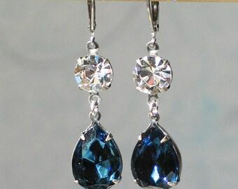 Montana Blue Swarovski Glass Rhinestone Earrings / Romantic Jewelry / 18th and 19th Century Jewelry / Bridal jewelry / Georgian