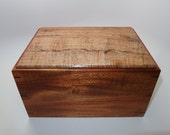 "Spalted Maple and Mahogany Keepsake Box. 9.5"" x 7"" x 5""."