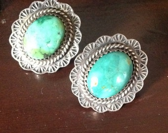 Vintage navajo sterling silver and turquoise earrings