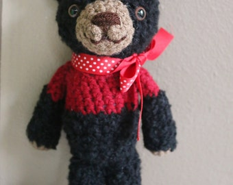 Crochet Furry Fuzzy Black Bear Stuffed Animal
