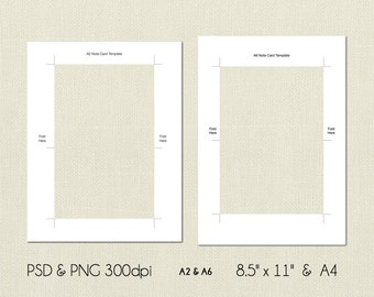 A2 and A6 Note Card Digital Template, 4.25x5.5, 14.8cm x 10.5cm, PSD and PNG Formats, Instant Download