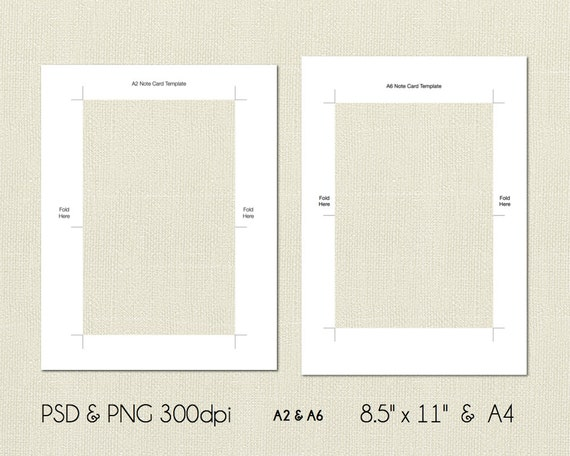 A2 and A6 Note Card Digital Template, PSD and PNG Formats, Instant ...
