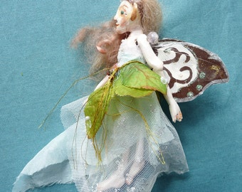 Miniature Tinkerbell Doll, OOAK Fairy, Sculpted and Jointed Art Doll