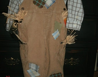 boys 24 mos Scarecrow costume Halloween plaid shirt ,overalls, hat OOAK