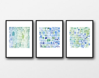 Sea glass art set of 3 watercolor prints watercolor paintings blue green abstract art nautical home decor