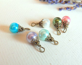 Vintage Style, Assorted Glass Pearl Dangles, Antique Brass Wire Wrapped Charms, Findings, Supplies, Beads, Jewelry Making, Earring Charms