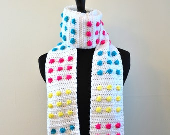 Retro Candy Dots / Candy Buttons Crocheted Scarf, Fun and Unique