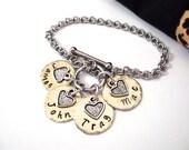 Name Bracelet, Mixed Metals Bracelet, Grandma Jewelry, Mommy Jewelry, Name Keychain, Stainless Steel Bracelet, 1+ discs