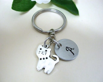 Cat Keychain, Cat Key Ring, Cat Earrings, Initial Keychain, Personalized Keychain, Charm Keychain, Kitty Keychain, Kitty Earrings