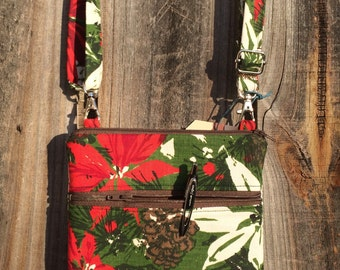 Small Cross Body Bag Purse, Sling Bag, Hip Bag Zipper Closure -  Vintage christmas red and green poinsettia and pine cones
