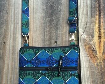 Small Cross Body Bag Purse, Sling Bag, Hip Bag Zipper Closure - Blue, Green and Black vintage fabric