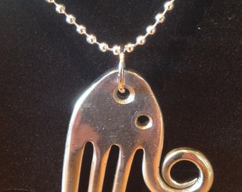 Recycled vintage fork elephant pendant