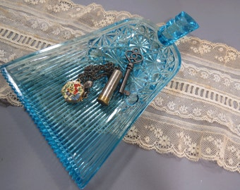 Antique Glass Whisk Broom Pickle, Trinket Dish,  Aqua Blue Daisy & Button Pattern, EAPG