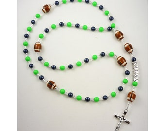First Communion Rosary- Football, Seahawks Colors - Or choose NFL team - Name Rosary, Baptism Personalized, Boy, Baptism Gift,  christenings