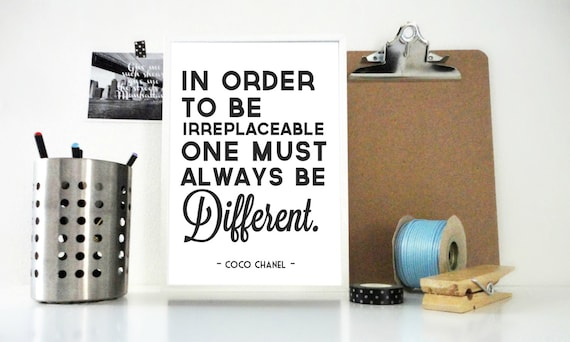 Art Print Coco Chanel Quote - Always Be Different Quote Print, Be Unique, Motivational Quote Print, Inspirational Poster, Coco Chanel Print