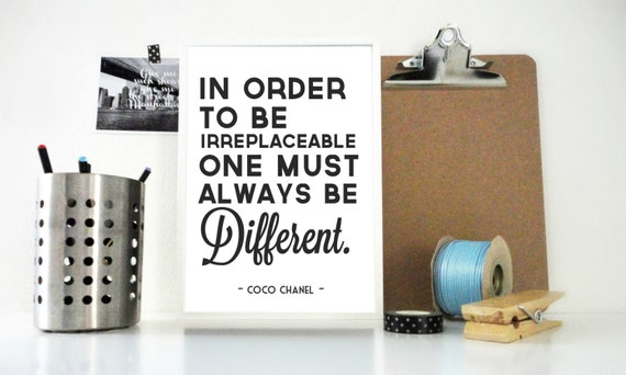 Art Print, Coco Chanel Quote Always Be Different, Quote Print, Motivational Quote Print, Inspirational Poster, Chanel Print, Fashion Print