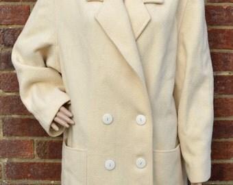 Vintage retro 1980s eighties yellow pea coat jacket double breasted classic mod UK size 16 - UK size 18 / large