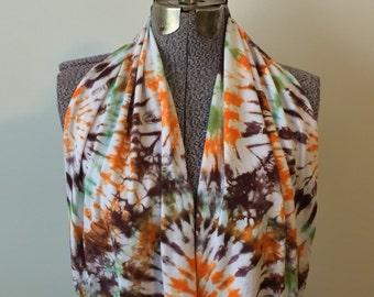 Tie Dye Infinity Scarf -- Earth Tones Sunburst