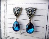 Blue Zircon Rhinestone Earrings, Teal Crystal Leopard Earrings, Aqua Teal Jewel Earrings