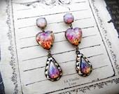 Victorian Opal Earrings, Gothic Jewel Earrings, Vintage Opal Glass, Victorian Jewelry, Valentine Earrings