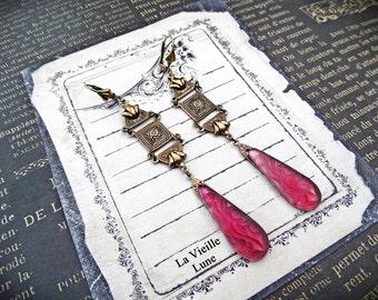 Amethyst Victorian Art Deco Earrings, Purple Czech Glass Jewel Earrings, Gothic Jewelry