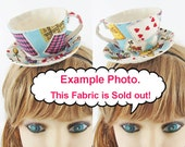 Made to Order-Teacup Fascinators-Alice Themed Cards, Liberty Fabric, Playing Cards Suits, Antique Cards and Teacups Print