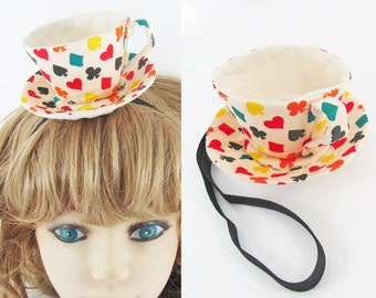 Ready to Ship! Textile Teacup Fascinator-Multicoloured Playing Cards Suits on Pale Pink *Alice in Wonderland's Mad Hatter Tea Party!*