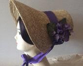 Regency Straw Bonnet. Jane Austen. Lavender Purple. vIntage Violets trim