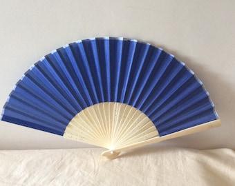 Regency/Victorian Style Fan. Cobalt Blue. Bridal Favour.