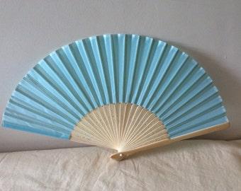 Regency/Victorian Style Fan. Sky Blue Silky Fan. Bridal Favour.