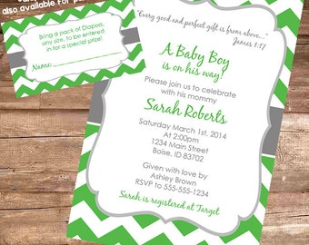 GREEN & GREY CHEVRON Baby Shower Invitation - 4x6 Digital File
