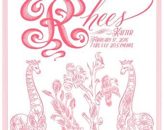 Classic Chic Girls or Boys Customizable Letterpress Birth Announcements SALE!