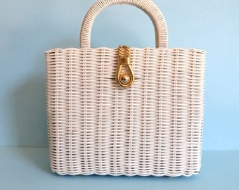 Vintage White Basket Weave Purse with Top Handles/White Wicker Purse Italian/Gold Hardware/Plastic Coated/Danieli/Made in Italy