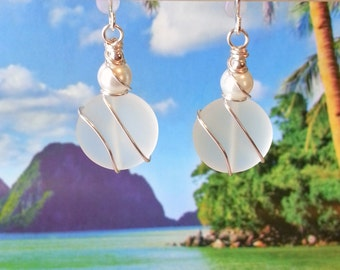 White seaglass beads earrings wire wrapped pearl earrings beach tumbled glass earrings coastal ladies gifts