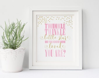 Twinkle Twinkle Little Star, Printable Art Print, Pink and Gold Glitter, Typography, Nursery Decor, Instant Download, Digital File
