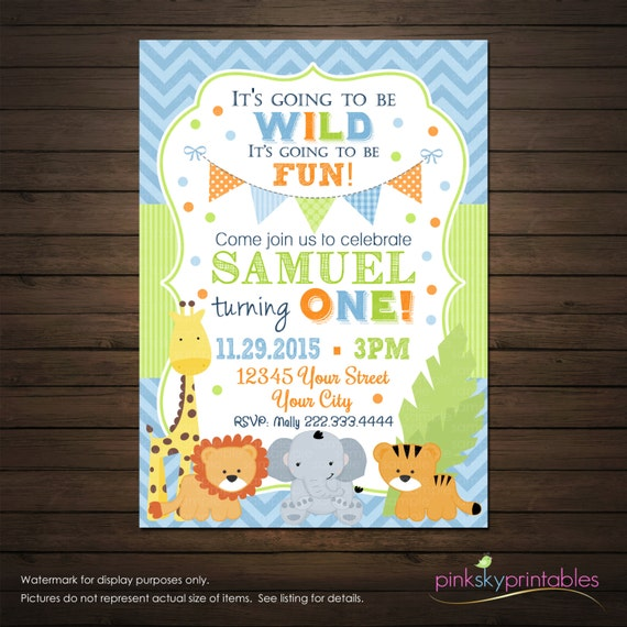 Party Animal 1st Birthday First Birthday Ideas: Jungle Animals First Birthday Invitation By PinkSkyPrintables