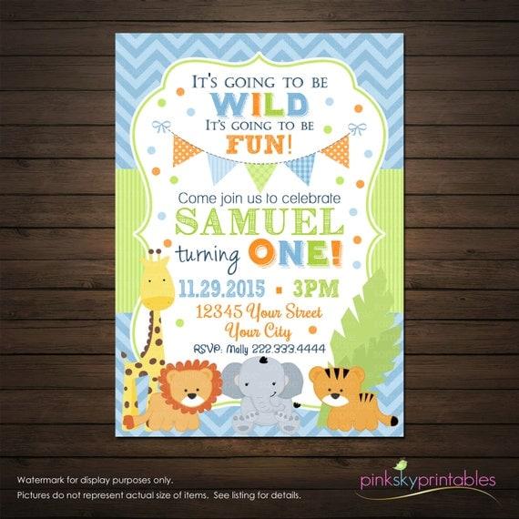 Jungle Animals First Birthday Invitation By PinkSkyPrintables