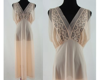 Vintage Sixties Nightgown - 1960s Peach Lace Long Slip - 60s Nightgown - Vintage Lingerie