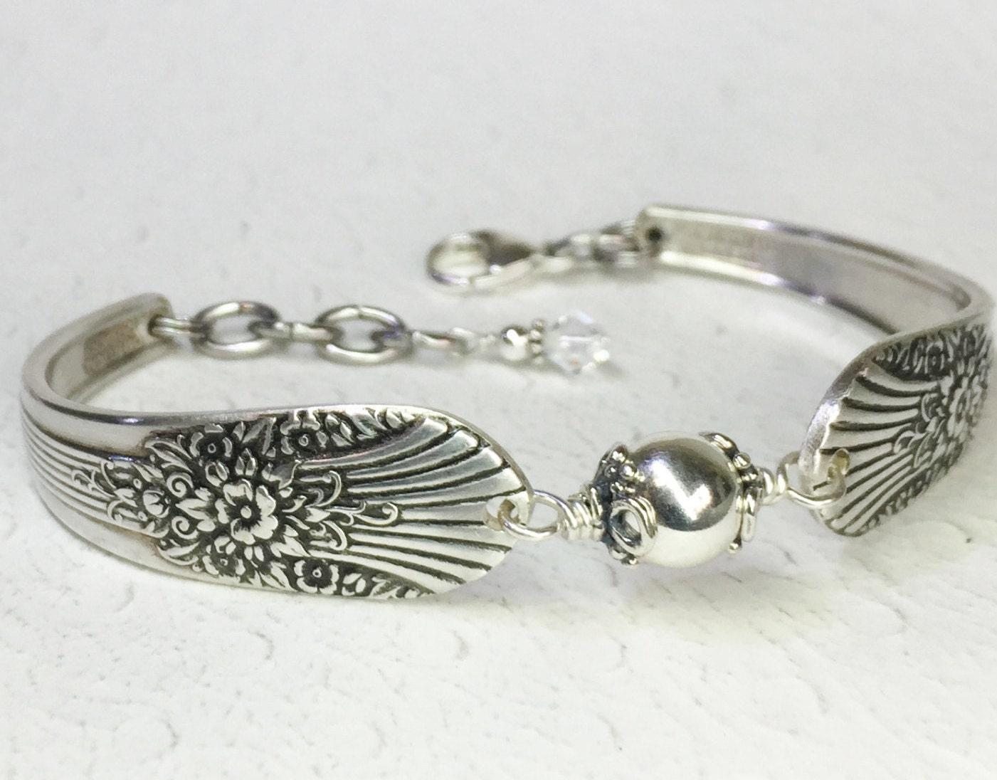 spoon bracelet sterling silver beads silverware jewelry