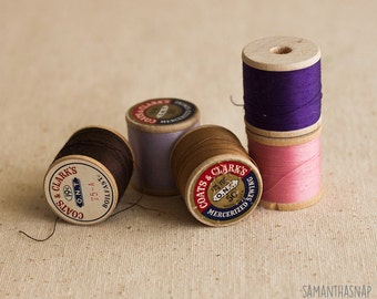 Vintage Wooden Thread Spools - 5 - Purples and Browns