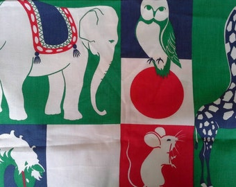 Juvenile Novelty Print Decorator Fabric  Animals 1 yard X0418 Red Blue Green
