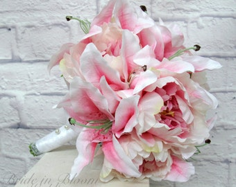 Pink stargazer lily wedding bouquet, Pink peony bouquet, Silk bridal bouquet, Wedding flowers