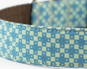 Blue Green Geometric Dog Collar