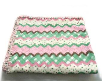 Chevron Fleece Throw, Pastel Candy Blanket, Mint Green Blanket, Baby Pink Blanket, Pastel Kawaii Blanket, Pink Crochet Edge, Girls Bedding
